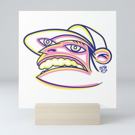 Skateboard Kid with Big Mouth and Crazy Eyes, Wearing Trucker Hat Mini Art Print