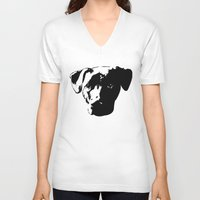 pit bull V-neck T-shirts featuring Lab Pit Bull by MIX INX