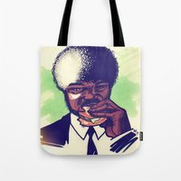 pulp fiction Tote Bags featuring Pulp Fiction by ARTBYSKINGS