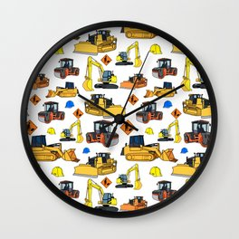 Construction Vehicles Pattern Wall Clock