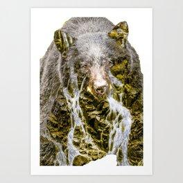 Waterfall Bear Art Print