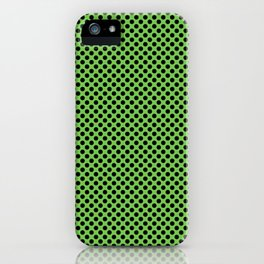 Green Flash and Black Polka Dots iPhone Case