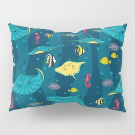 Decorative seamless pattern with sea fish on blue background. Pillow Sham