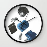 death note Wall Clocks featuring Death Note L by Papan Seniman
