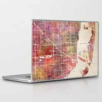 miami Laptop & iPad Skins featuring Miami by MapMapMaps.Watercolors
