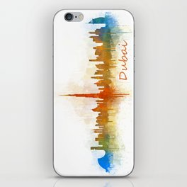 Dubai, emirates, City Cityscape Skyline watercolor art v3 iPhone Skin