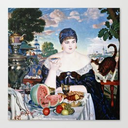 Boris Kustodiev - Merchants Wife At Tea Canvas Print