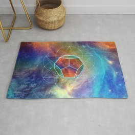 Abstract Sacred Geometry Cosmic Space Tapestry Rug