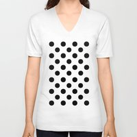 polka V-neck T-shirts featuring Polka Dots (Black/White) by 10813 Apparel
