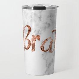 Rose gold marble - brat Travel Mug