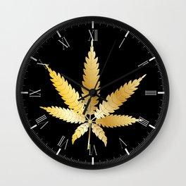 Gold Cannabis Leaf Wall Clock