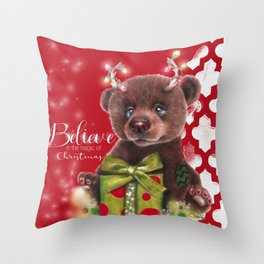 Bruno Christmas Bear (Rudolph Fan) Throw Pillow