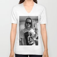 ryan gosling V-neck T-shirts featuring MACAULAY CULKIN WEARING T-SHIRTS RYAN GOSLING by nicksoulart