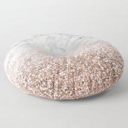 Bold ombre rose gold glitter - white marble Floor Pillow
