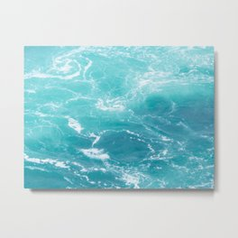 Turquoise Turbulence Metal Print
