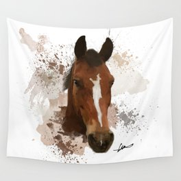Brown and White Horse Watercolor Wall Tapestry