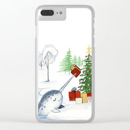 Christmas Narwhal Clear iPhone Case