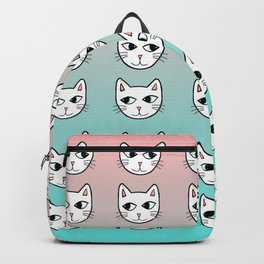 Whimsical White Cats Mint Pink Pattern Backpack