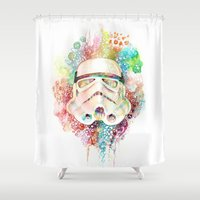 stormtrooper Shower Curtains featuring Stormtrooper by Veronika Weroni Vajdová