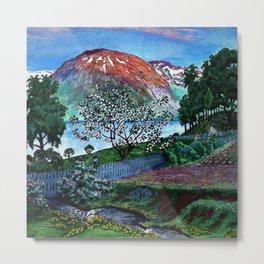 'June Night, Fjord Lakeside, in the Garden' alpine landscape painting by Nikolai Astrup Metal Print