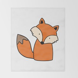 Simple hand drawn fox Throw Blanket