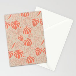 Monstera Leaf pattern in orange Stationery Cards