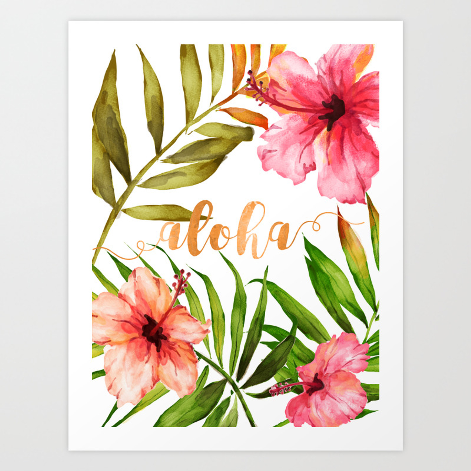 Aloha Watercolor Tropical Hawaiian leaves and flowers Art Print