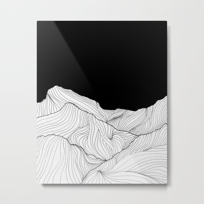 Lines in the mountains - b&w Metal Print