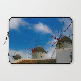 Blue Windmills of Greece Laptop Sleeve