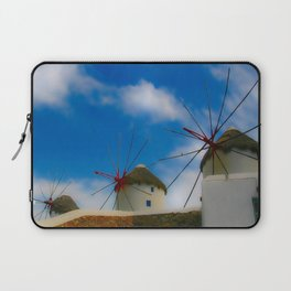 Blue Windmills of Greece Laptop Sleeve