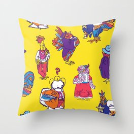Wild West Chickens Throw Pillow