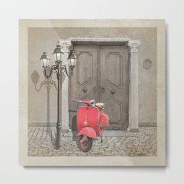 Nostalgia pink scooter Metal Print