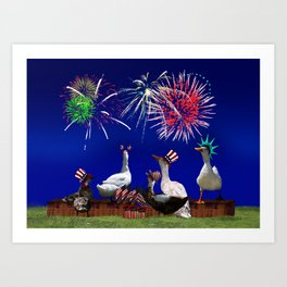 Ducky Celebration for the 4th of July Art Print
