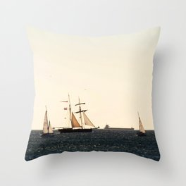 Sailboats in a windy day Throw Pillow