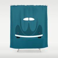 volkswagen Shower Curtains featuring Volkswagen Beetle by Nick Steen