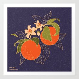Orange Branch Art Print