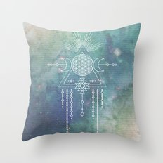 Mandala Flower of Life in Turquoise Stars Throw Pillow