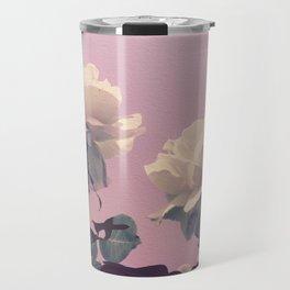 Vintage Spring Pearl White Roses Lavender Sky Travel Mug