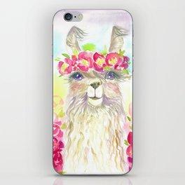 Llama in flower crown iPhone Skin