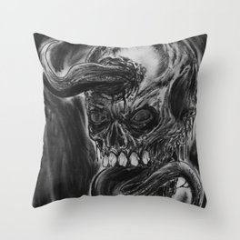 Charcoal Skull Of Death Throw Pillow