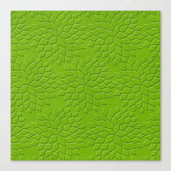 Leather Look Petal Pattern - Greenery Color Canvas Print