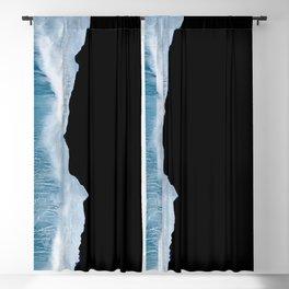Minimalist wave crashing on a black sand beach in Iceland – Ocean Landscape Photography Blackout Curtain
