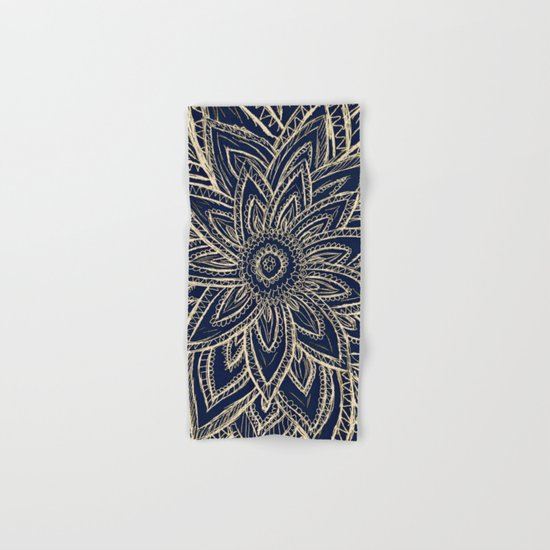 Cute Retro Gold abstract Flower Drawing on Black Hand & Bath Towel