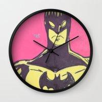 bats Wall Clocks featuring Bats by Michael Fitzgerald Troy