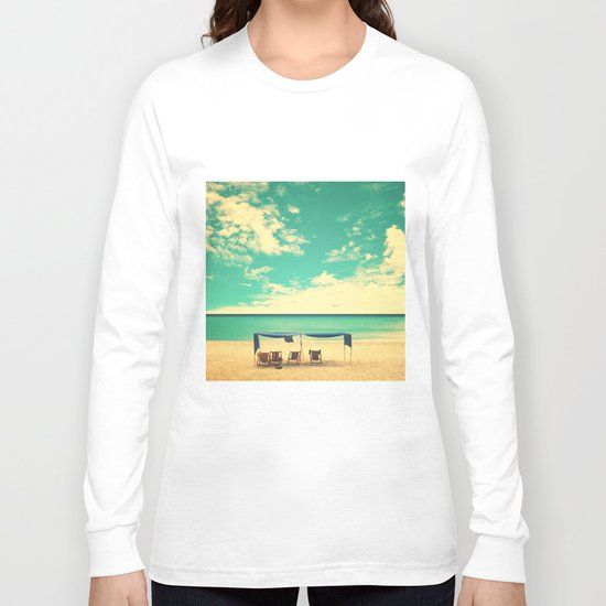 Paradise Beach and Retro Blue Sky  Long Sleeve T-shirt