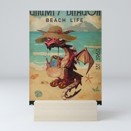 Beach Life Sandy Toes Grumpy Dragon gift Mini Art Print