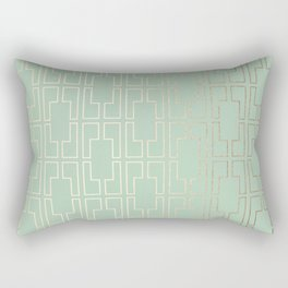 Simply Mid-Century in White Gold Sands and Pastel Cactus Green Rectangular Pillow