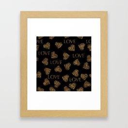 Valentines day gold pattern with stylish heart and text Framed Art Print