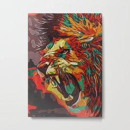 Hatched Lion Metal Print