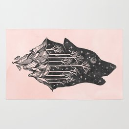 Adventure Wolf - Nature Mountains Wolves Howling Design Black on Pale Pink Rug